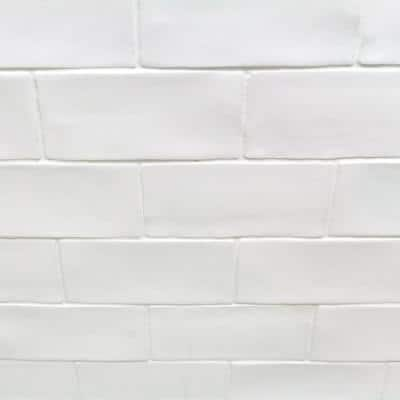 Catalina White 3 in. x 6 in. x 8 mm Polished Ceramic Subway Wall Tile (5.38 sq. ft./case)