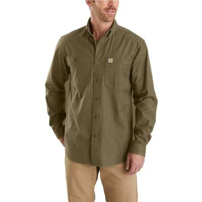Men's Medium Military Olive Cotton/Spandex Rugged Flex Rigby Long Sleeve Work Shirt