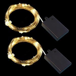 100-Light Bulbs LED Warm White Battery Operated Multi-Strand Fairy String Lights (Set of 2)