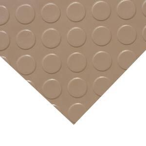 ''Coin-Grip Metallic'' 4 ft. x 10 ft. Beige Commercial PVC Flooring