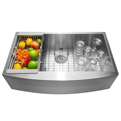 Handcrafted All-in-One Farmhouse Apron Front Stainless Steel 33 in. x 20 in. x 9 in. Single Bowl Kitchen Sink