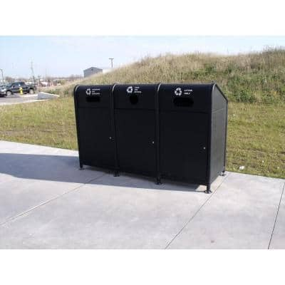 102 Gal. Steel Recycling Station in Black