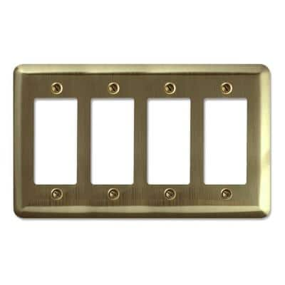 Brass 4-Gang Decorator/Rocker Wall Plate (1-Pack)