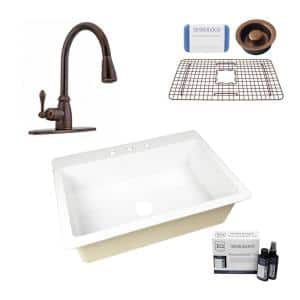 Jackson All-in-One Drop-In Fireclay 33 in. 3-Hole Single Bowl Kitchen Sink with Pfister Canton Faucet in Bronze