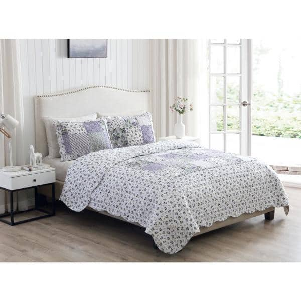 Morgan Home Brenna 2 Piece Lavender Twin Floral Patchwork Quilt Set M559365 The Home Depot