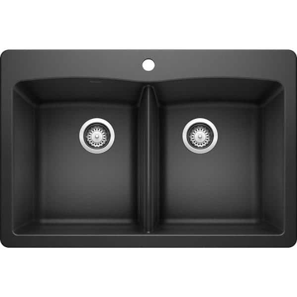 Blanco Diamond Dual Mount Granite Composite 33 In 1 Hole 50 Double Bowl Kitchen Sink Anthracite 440220 The Home Depot