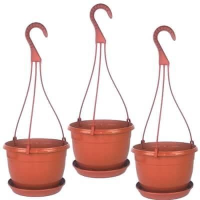 8 in. Plastic Hanging Basket Terra Cotta (3-Pack)