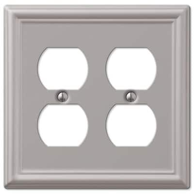 Ascher 2 Gang Duplex Steel Wall Plate - Brushed Nickel