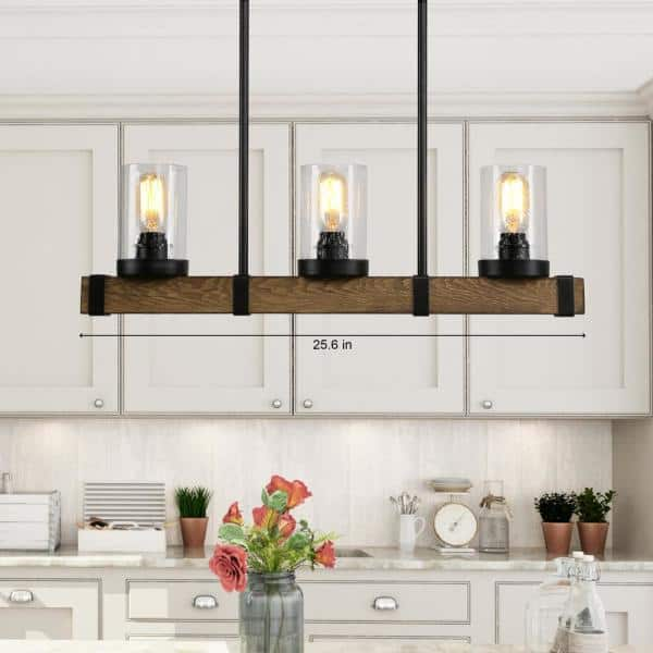 Lnc Modern Farmhouse Chandelier 3 Light Black Rustic Wood Beam Linear Island Pendant Lighting With Seeded Glass Shades A03527 The Home Depot
