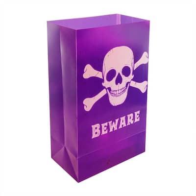 Skull and Crossbones Plastic Luminary Bags (12-Count)