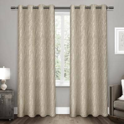 Natural Floral Thermal Blackout Curtain - 52 in. W x 84 in. L (Set of 2)