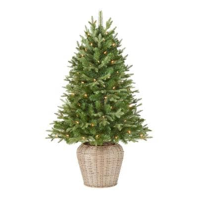 4 ft Fraser Fir Incandescent Pre-Lit Artificial Christmas Tree with 70 White Lights With Weave Pot