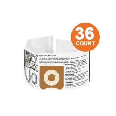 High-Efficiency Size C Dust Collection Bags for 3 to 4.5 Gal. and HD06001 RIDGID Wet/Dry Shop Vacuums (36-Pack)