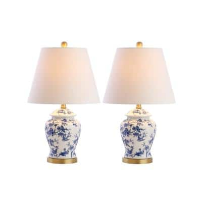 Penelope 22 in. Blue/White Chinoiserie Table Lamp, Set of 2