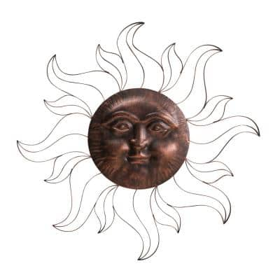 Scarlett Iron Vintage Copper Sun Face Wall Decor with Screw-Hangers