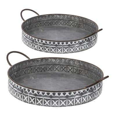 Round Gray, White Trays with Handles (Set of 2)
