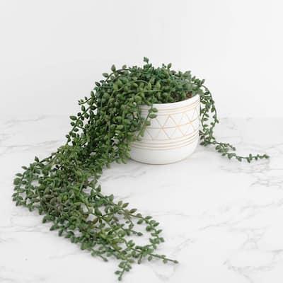17.5 in. H Artificial String of Beads in 5 in. GEO Ceramic Pot