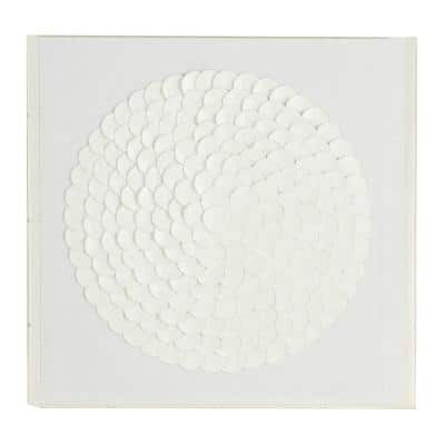 Square Acrylic and White Leather Wall Decor, 24 in. x 24 in.