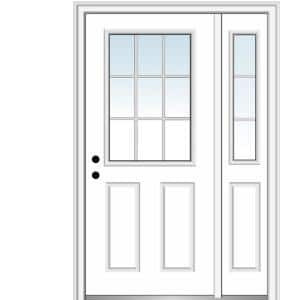 53 in. x 81.75 in. Internal Grilles Right Hand 1/2 Lite 2-panel Classic Primed Steel Prehung Front Door with Sidelite