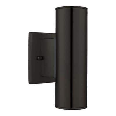 Riga 4.25 in. W x 7.87 in. H 2-Light Black Outdoor Wall Lantern Sconce