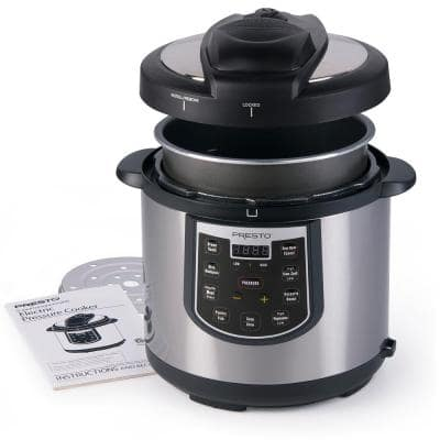 6 Qt. Black Stainless Steel Electric Pressure Cooker with Built-In Timer