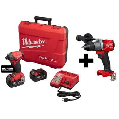M18 FUEL SURGE 18-Volt Lithium-Ion Brushless Cordless 1/4 in. Hex Impact Driver Kit W/ M18 FUEL Hammer Drill