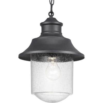 Weldon Collection 1-Light Textured Black Clear Seeded Glass Farmhouse Outdoor Hanging Lantern Light