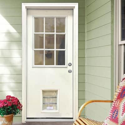 31-3/4 in. x 79 in. Clear 9-Lite White Primed Fiberglass Front Door Slab with Extra Large Pet Door