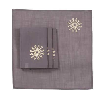 0.1 in. H x 20 in. W x 20 in. D Sparkling Snowflakes Embroidered Single Layer Christmas Napkins (Set of 4)