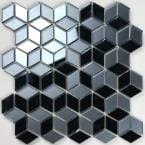 Musico Graphite Blue Diamond Mosaic 2 in. x 2 in. Glossy & Matte Glass Peel & Stick Wall Tile (7 Sq. ft./Case)