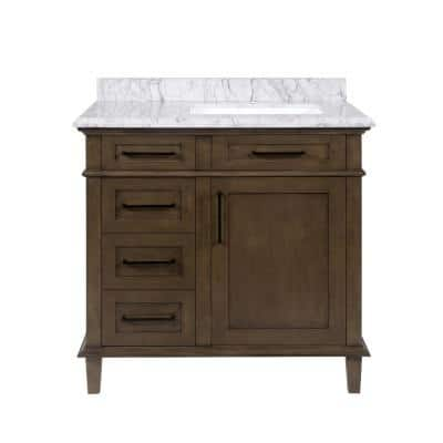 Home Decorators Collection Sonoma 30 In W X 22 In D Bath Vanity In Almond Latte With Carrara Marble Vanity Top In White With White Basin Sonoma 30al The Home Depot