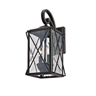 2-Light Oil-Rubbed Bronze and Gold Trim Outdoor Wall Sconce with Beveled Glass