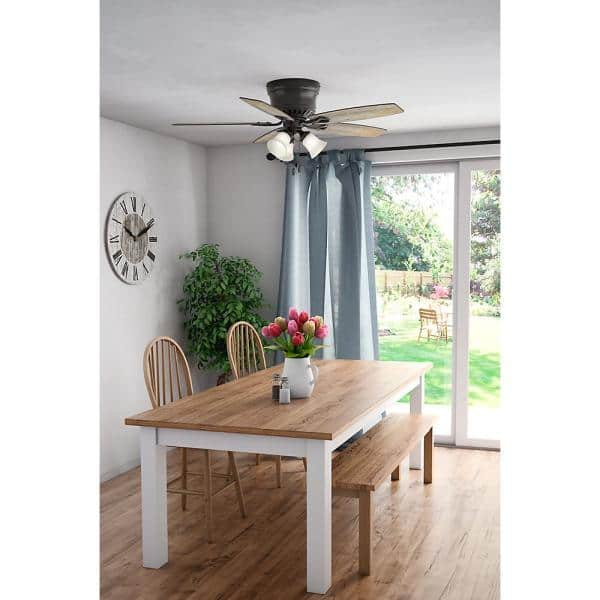 Hunter Oakhurst Ii 52 In Low Profile Led Indoor New Bronze Ceiling Fan With Light Kit 52300 The Home Depot
