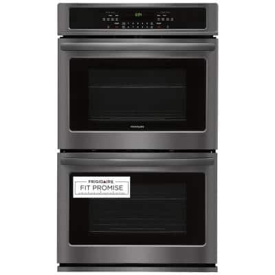 30 in. Double Electric Wall Oven Self-Cleaning in Black Stainless Steel