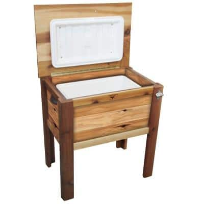 32 in. x 21 in. x 35 in. Western Red Cedar Cooler Chest with Cover - Finished