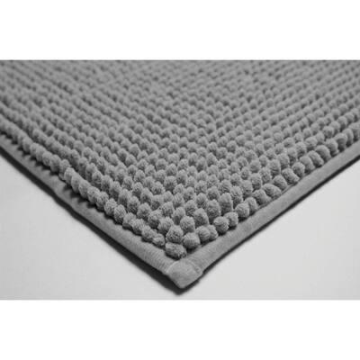 Plush Chenille 17 in. x 24 in./ 20 in. x 30 in. 2-Piece Memory Foam Bath Mat Set in Light Grey