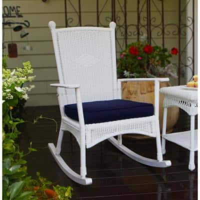 Portside Classic Outdoor Rocking Chair White Wicker with Blue Cushion