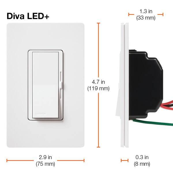 LUTRON DIVA CL DIMMER DVCL-153PR-GR GRAY SINGLE POLE OR 3-WAY  600W 120V LED