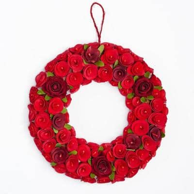 16 in. Red Wood Curl Wreath with Faux Roses