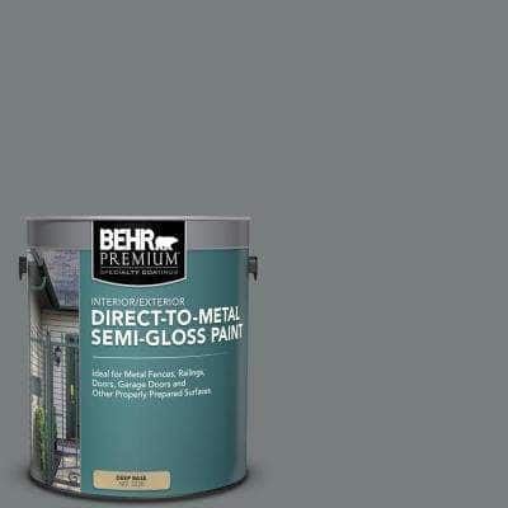 1 gal. #PPU25-18 Shutter Gray Semi-Gloss Direct to Metal Interior/Exterior Paint