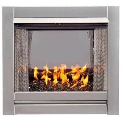 Bluegrass Living Vent-Free Stainless Outdoor Gas Fireplace Insert With Black Fire Glass Media - 24,000 BTU