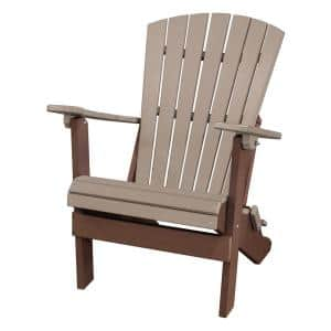 All Poly 29 in. Tudor Brown Frame Folding Poly Resin 1-Person Adirondack Chair with Weather Wood Seat