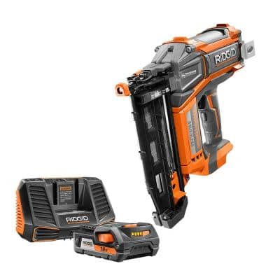 18V Brushless Cordless HYPERDRIVE 16-Gauge 2-1/2 in. Straight Finish Nailer w/ Belt Clip and 2.0 Ah Battery and Charger