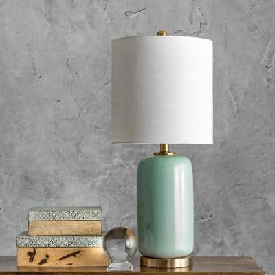 Bell 26 in. Green Traditional Table Lamp with Shade