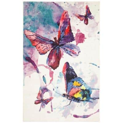Watercolor Butterflies Butterflies 10 ft. x 14 ft. Abstract Area Rug