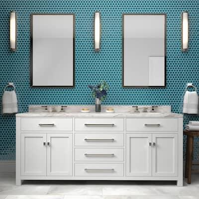 Restore Teal 10 in. x 12 in. Glazed Ceramic Hexagon Mosaic Tile (0.81 sq. ft./each)