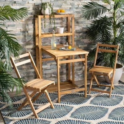 Griffen Natural Brown 3-Piece Wood Outdoor Dining Set