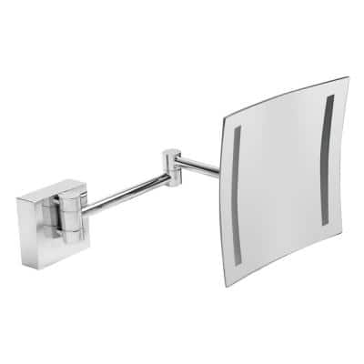 8 in. x 8 in. Square Frameless Wall Mounted LED Lighted Single 5X Mirror in Polished Chrome