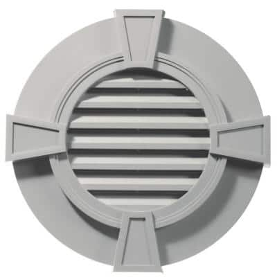 30 in. x 30 in. Round Gray Plastic Built-in Screen Gable Louver Vent