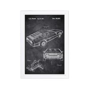 Delorean 1986 Chalkboard' Framed Travel Art Print 19 in. x 13 in.